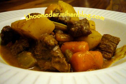 خوراک هویج و گوشت آب پز