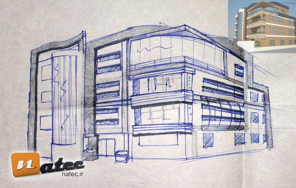 اسکیس نمای ساختمان (این اسکیس به صورت ایستاده در محل و جهت تفهیم ایده به کارفرما زده شده است)