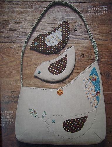 کیف با تکه دوزی پرنده