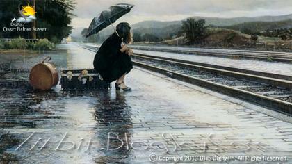 دخترک تنها.. زیر باران مانده..