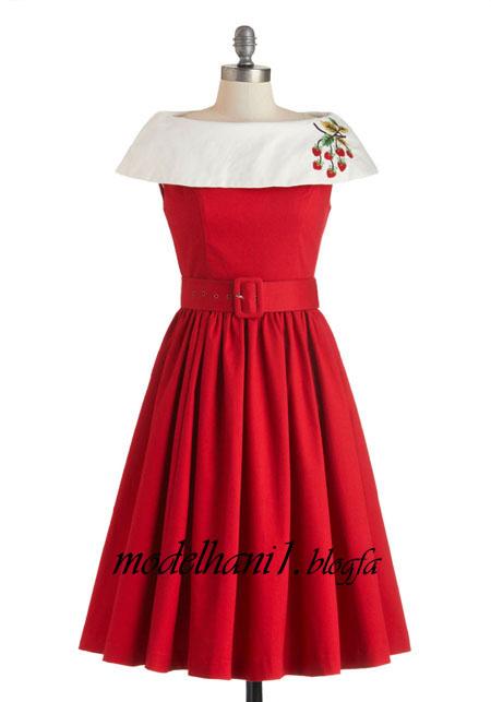 لباس مجلسی قرمز یقه قایقی دخترانه