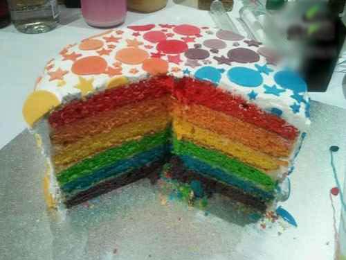 کیک پیناتای رنگین کمان