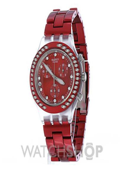 خرید ساعت مچی زنانه سواچ نگین دار قرمز