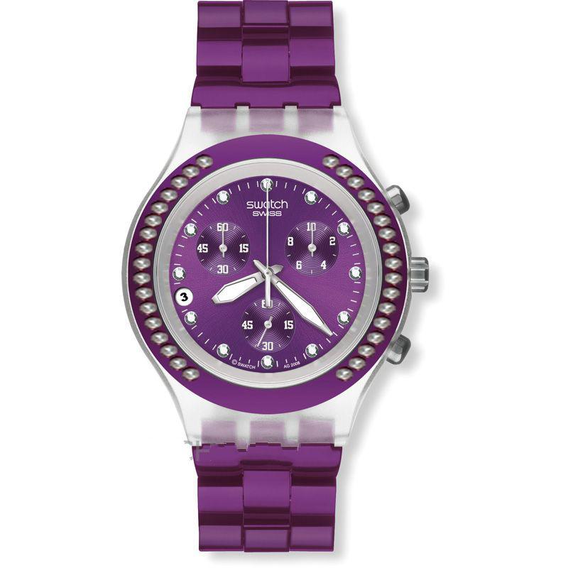 خرید ساعت مچی زنانه سواچ بنفش نگین دار