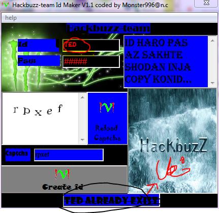 hackbuzz-team id maker v1.1 coded by monster996@n.c Khata1
