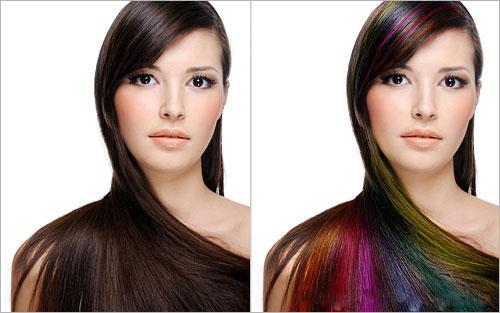 آموزش رنگ کردن حرفه ایی مو در فتوشاپ