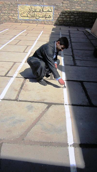 خط کشی مکان مراسم آغازین آموزشگاه