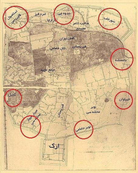 نقشه شهر تبریز در روره قاجار مربوط به سال 1827