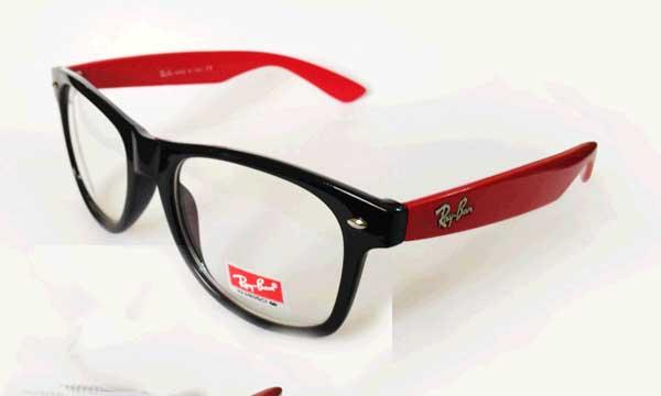 عینک دسته قرمز شیشه شفاف ریبن
