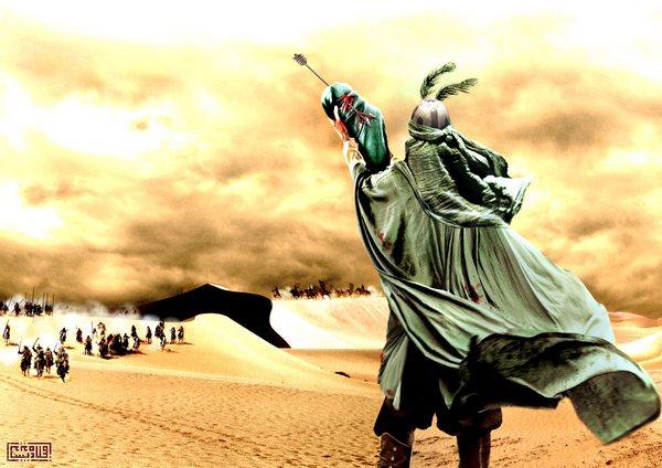 روی دستش، پسرش رفت، ولی قولش نه!  نیزه ها تا جگرش رفت، ولی قولش نه!