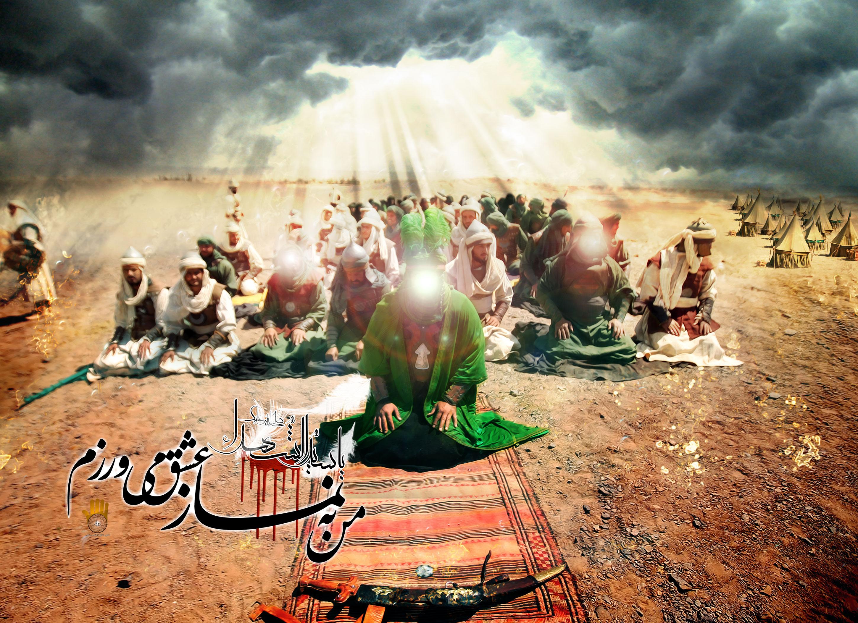 Image result for عکس نماز خواندن امام حسین