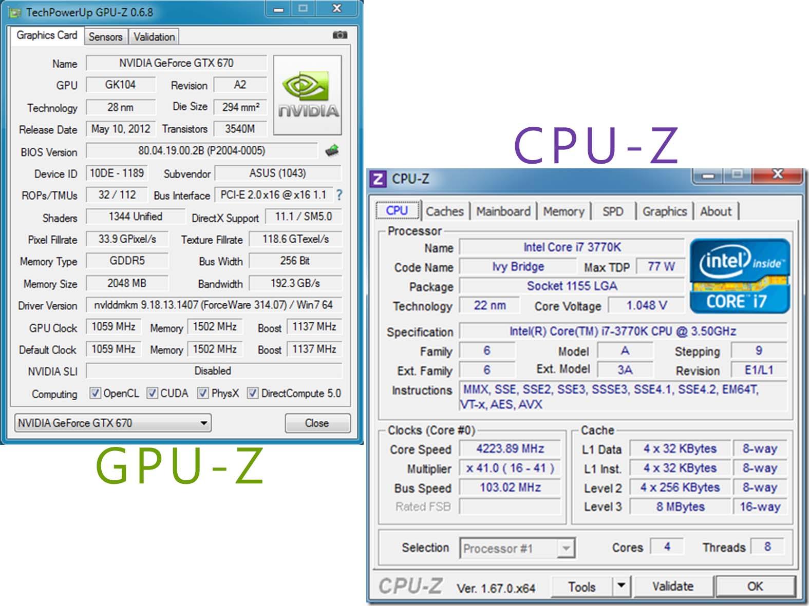 CPU-Z 1.67.1 Final    GPU-Z 0.7.4 Final