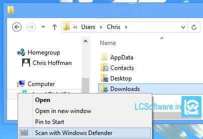 اضافه کردن گزینه اسکن با Windows Defender به کلیک راست در ویندوز