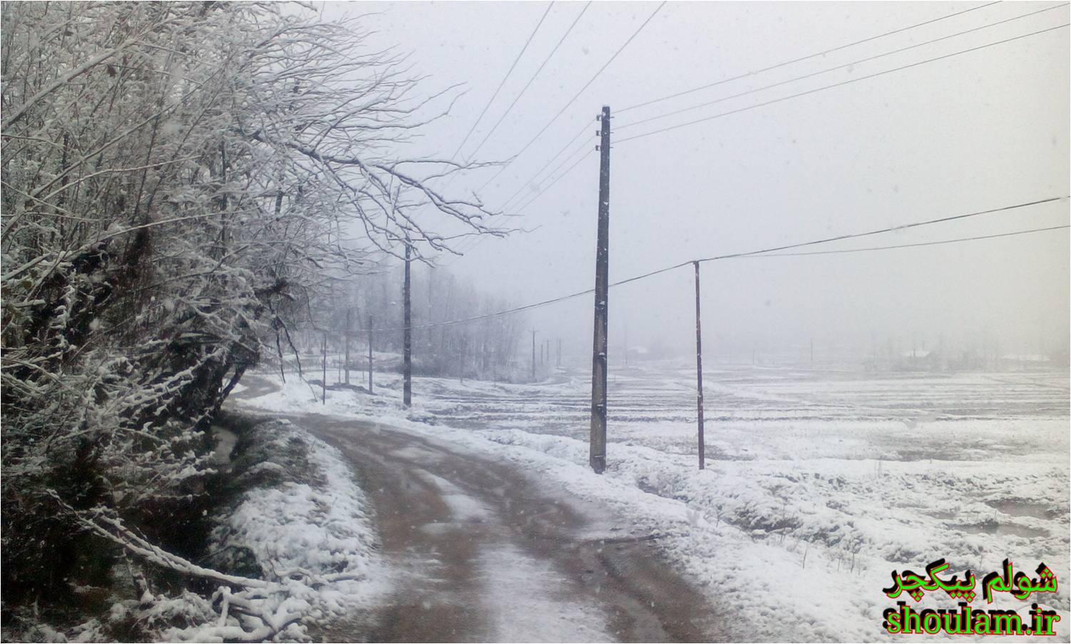 برف زمستان 93 روستای شولم