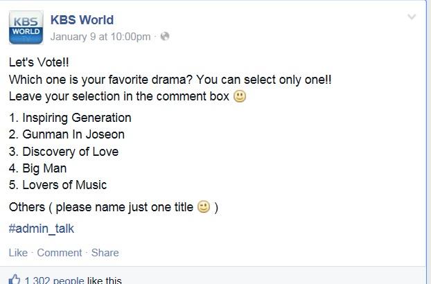 KBS World Drama Vote - 2015.01.13
