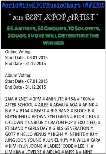 Vote - 2015 Best Kpop Hero Artist In World Wide Kpop Music Chart