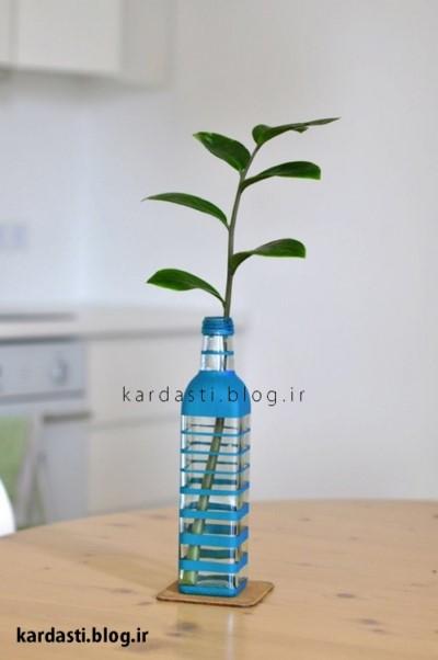 گلدان زیبا با بطری شیشه
