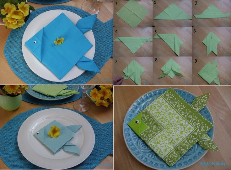 آموزش تزیین دستمال سفره به شکل ماهی