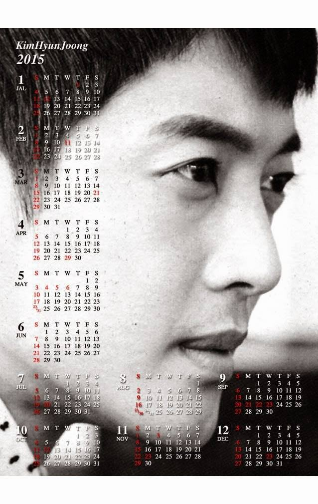 Calendar Of Hyun Joong in 2015