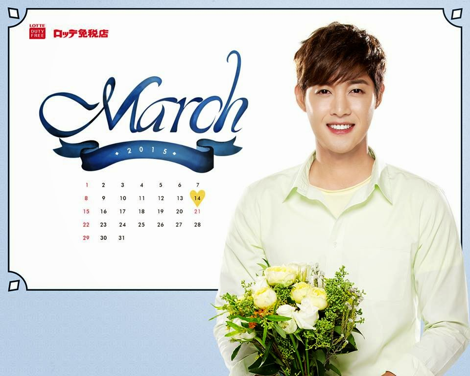 Kim Hyun Joong - Lotte Duty Free March 2015 Calendar Wallpaper