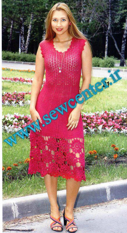 لباس بلند قلاب بافی همراه با الگو