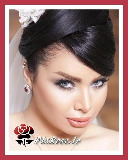 مدل آرایش عروس مو مشکی