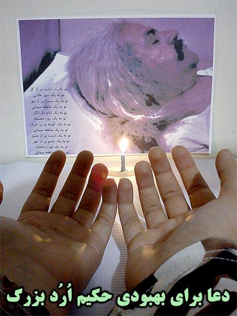 ارد بزرگ ، دعا برای بهبودی حکیم ارد بزرگ ، ارد بزرگ بیمار شده است،  ارد بزرگ در بستر بیماری، مریض شدن حکیم ارد بزرگ
