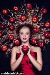 عکس زن و سیب