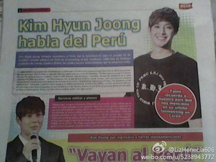 Kim Hyun Joong  Pic in Peru Newspaper