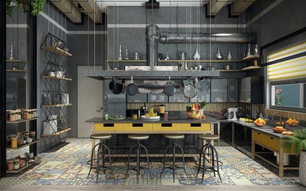 آشپزخانه به سبک صنعتی4