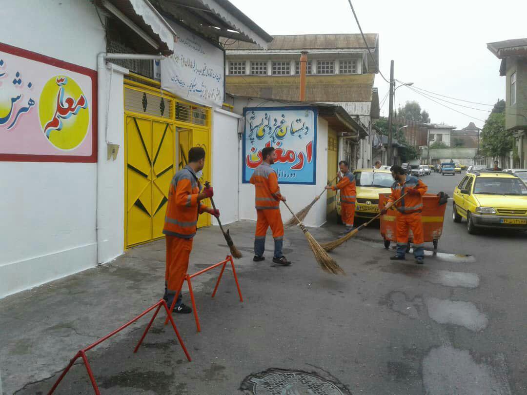 گزارش تصویری از پاکسازی و نظافت شهری به مناسبت آغاز سال تحصیلی