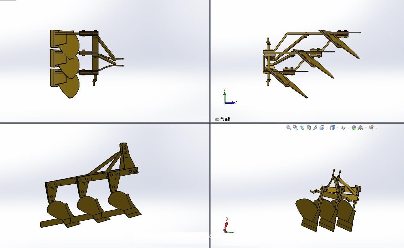 دانلود پروژه طراحی گاو آهن برگرداندار - ادوات کشاورزی در سالیدورک  solidwork